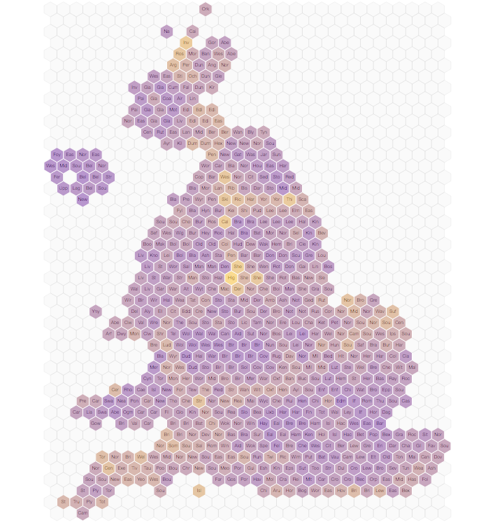 Hex map showing signatures for banning grouse hunting.