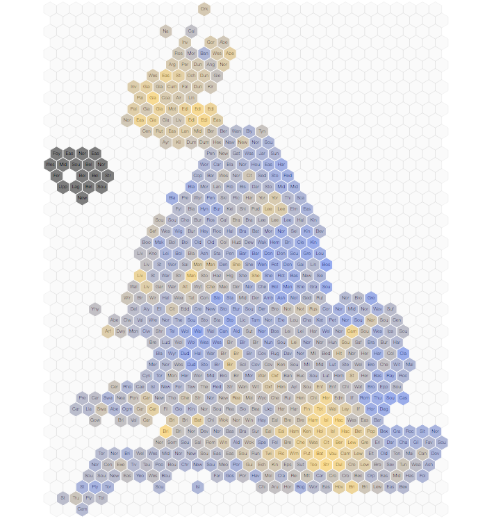 Hex map showing estimates of the EU Referendum results