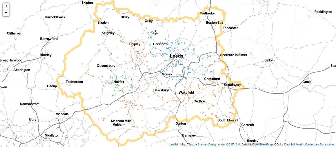Allotment map of West Yorkshire